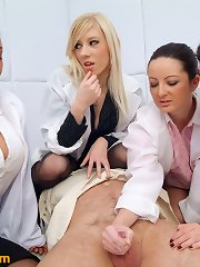 Gorgeous female doctors humiliate and jack off a defenceless boy in a straightjacket