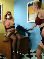 Mistress whipping bound slavegirl
