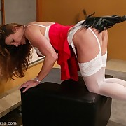 Lezdom irritant whipping and strapon sex