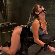 A squirting slave got fucked, caned and suddenly fixed