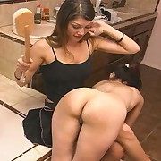 Girl is disciplining girl in along to bath-room