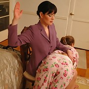 Strict Momma is OTK spanking her both teen daughters
