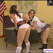 Hot shcoolgrils getting spanked