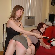Redhead teen spanked by hairbrush