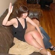 Young girl was hard spanked by mammy