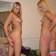 Totally barren girls began spanking each others' asses.