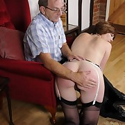 Milf was spanked otk due from bad cocksucking