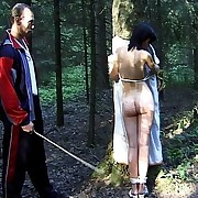 Bondage and brutal caning of Russian nudes in the forest