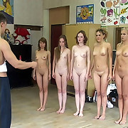 Group of naughty schoolgirls gets punished