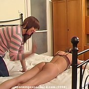 Ecumenical spanked girl on rub-down the purfle
