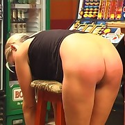 Girl got spanked in the shop