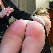 The blonde secretary was spanked otk by lady boss
