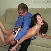 Hot babe getting otk spanks