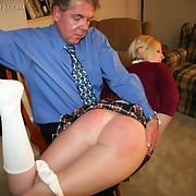 The Daddy punished a naughty schoolgirl by the paddle