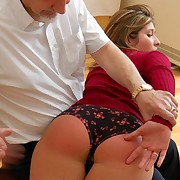Husband spanks a milf wife otk