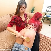 Girlfriend spanked a redhead teen