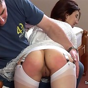 The redhead slut getting spanked