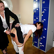 The schoolmistress spanked two thieves schoolgirls