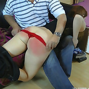 Sexy girl was spanked hard
