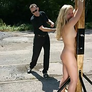 Tied and brutally whipped outdoor