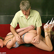 Hogtied together with paddled slavegirl