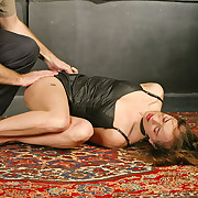 Eve cuffed, spanked and fucked by a huge dick on a stick