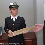 Tears be fitting of hottie Kelly Morgan as handsome cadet is paddled be fitting of insubordination