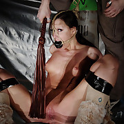 Extreme gagged Nicole was gambol in the air a monolit CO2 bottle.
