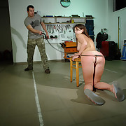 Painful BDSM boxing-match with Angie in the dirty garage.