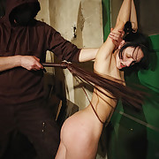 Handcuffed sweet Lola was brutal whipped.