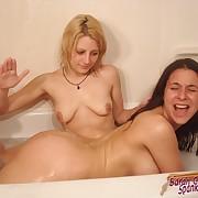Grim mistress lathers her lesbian maid