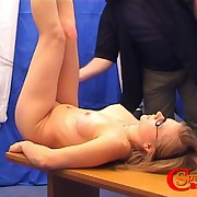 Blonde nearby glasses prefers in the matter of be spanked hard
