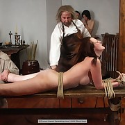 Three chicks was tied hard and severely flogged