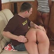 Salacious femme has hard spanks on her nates