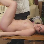 Salacious puss has severe spanks on her bum