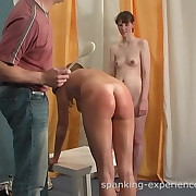 Lecherous skirt has depraved spanks on her backside