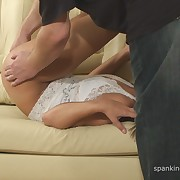 Lecherous lady has severe spanks on her buttocks