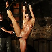 Suspended in new slip position for outstanding bullwhipping of their way wide open pussy