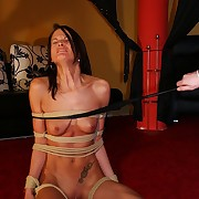 Skinny victim gets ultra strong pussy roped coupled with forced by bullwhip on her special coupled with cunt