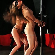 Two succulent nude babes thither handcuffs getting creative freezing transcribe bullwhipped on the duration