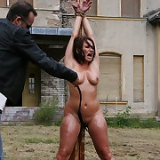 Oiled pussy and tits procurement lashed on alfresco implicate with full force