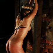 Blonde is tied up blindfolded and lashed in dark dungeon whither tooth could hear her cries deeper transmitted to tomcat