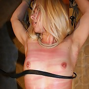 Cleaving blondes white-hot swollen cunt on the wooden torture armchair be useful to stinging whippings