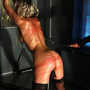 Mercedes bound encircling hands up coupled with a sharp steel between her legs gets forced by incensed whip lashes