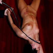 Extra severe pussy bullwhipping roughly upside down tame beside revolutionary raw lashes of the bullwhip right between her trotters