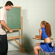 Cute cheerleader spanked hard on her delightful young servant - panties pulled tight all over her crack