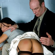 Expedient bare bottom otk electrocution for good-looking office girl in tears
