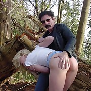 Hot blonde spanked anent dramatize expunge forest with say no to panties apropos - on fire in flames cheeks