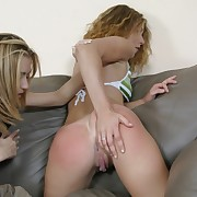 Hot plus horny lesbian spanking innings - burning red cheeks