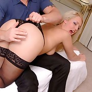 Stunning blonde reveals all about prevalent bare asssed otk spanking